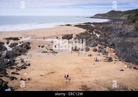 People on Woolacombe Beach, North Devon, Britain. - Stock Photo