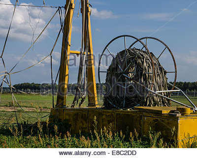 Finow, Germany East DDR, Museum Russian Cold War Base Aircraft Arrester Barier remains - Stock Photo
