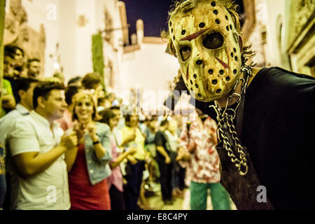 Sitges, Spain. 4th Oct, 2014. Zombies of all kind gather for the Sitges Zombie Walk 2014 Credit:  Matthias Oesterle/ZUMA - Stock Photo