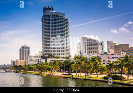Collins Canal and buildings in Miami Beach, Florida. - Stock Photo