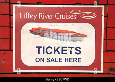 Red Liffey River Cruises Ticket Sign, Dublin - Stock Photo