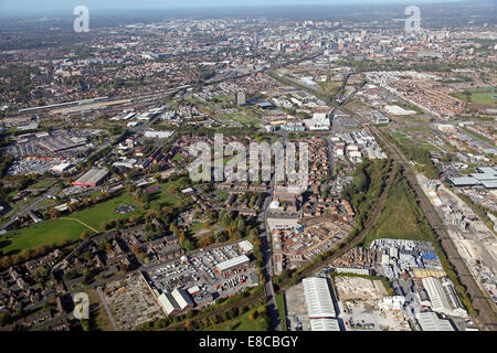 aerial view of West Gorton and Longsight looking towards Manchester city centre - Stock Photo