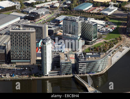 aerial view of Media City at Salford Quays near Manchester, UK - Stock Photo