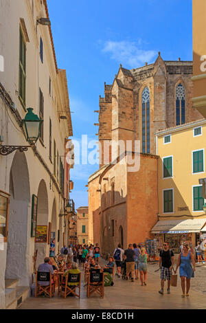 Street cafe and restaurants in the old town near the Cathedral de Menorca, Ciutadella, Menorca, Spain - Stock Photo