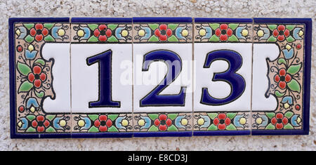 House Number Spanish Style Made Up From Ceramic Tiles Stock Photo - Ceramic street numbers