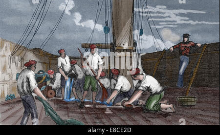 History of navigation. Cleaning the deck. Iconographic Enclyclopaedia of science, Literature and Art. 19th century. - Stock Photo