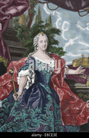 Maria Theresa of Austria, 1717 - 1780, sovereign of Austria and Queen of Hungary and Bohemia. Engraving. Color. - Stock Photo