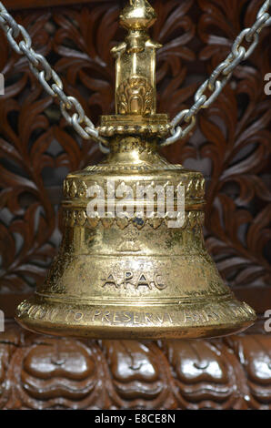 Oriental bell at Nepal Peace Pagoda in Brisbane, Australia. - Stock Photo