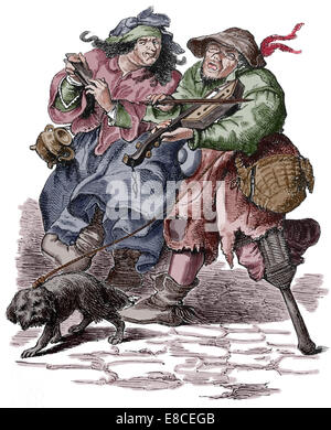 Begging. Musicians. Modern Age. 17th century. Later colouration - Stock Photo