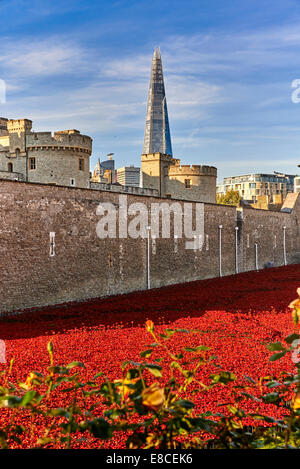Tower of London Poppies in the Moat HRP-Tower London -WW1-LogoFrom 5 August 2014 to 11 November 2017 - Stock Photo