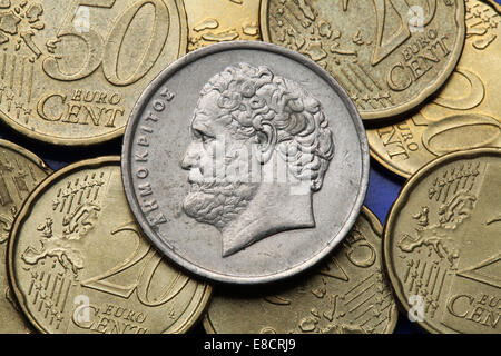 Coins of Greece. Greek philosopher Democritus depicted in the old Greek 10 drachma coin. - Stock Photo