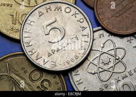 Coins of Greece. Old Greek five drachma coin. - Stock Photo