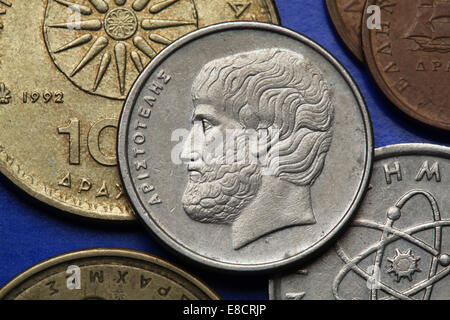 Coins of Greece. Greek philosopher Aristotle depicted in the old Greek five drachma coin. - Stock Photo