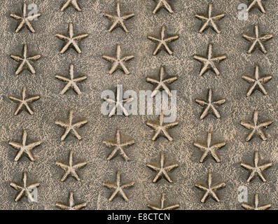 Metallic star relief pattern texture seamlessly tileable - Stock Photo