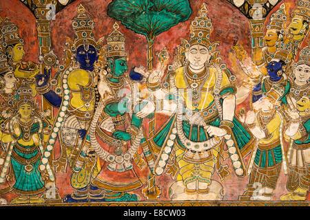 MEENAKSHI AMMAN TEMPLE MADURAI INDIA WALL MURAL OF HINDU GODS INSIDE THE TEMPLE - Stock Photo