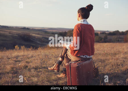 Fashionable artist in the mountain - Stock Photo