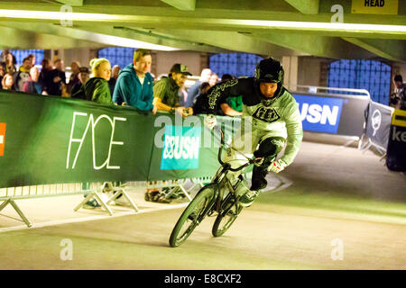 Tre Whyte at Parkour Ride a multi-discipline cycling event held in an abandoned multi-storey car park, Tobacco Dock, - Stock Photo