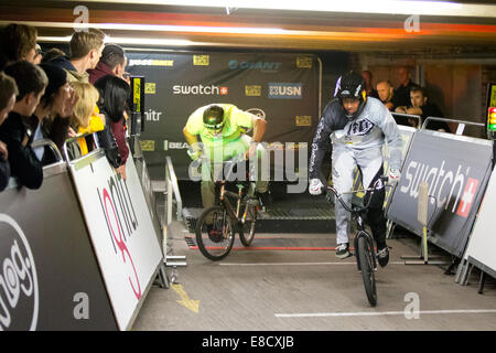 Tre Whyte & Rob REED at Parkour Ride a multi-discipline cycling event held in an abandoned multi-storey car park, - Stock Photo