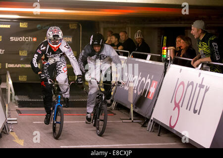 Tre Whyte & Liam Phillips at Parkour Ride a multi-discipline cycling event held in an abandoned multi-storey car - Stock Photo