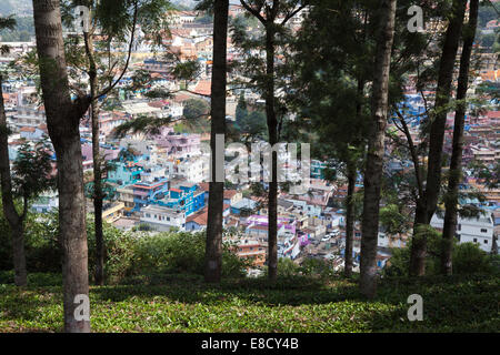 Coonoor town viewed from surrounding Nilgiri Hills. Tamil Nadu, Southern India - Stock Photo