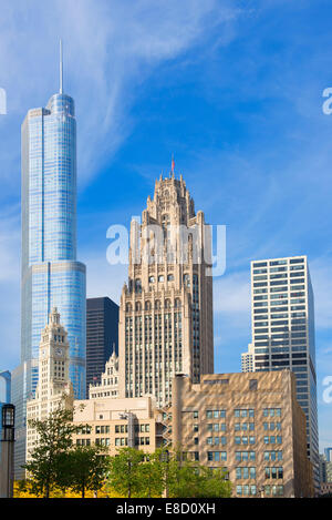 Chicago Trump Tower, Tribune Tower, Wrigley Building - Stock Photo