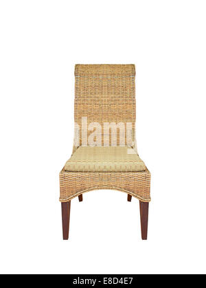 Dirty old wicker chair white isolated background. - Stock Photo