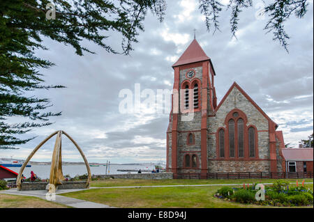 The Whalebone Arch to commemorate the whalers perished at sea, next to Christ Church Cathedral, Stanley, Falkland - Stock Photo