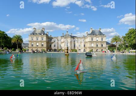 Palais du Luxembourg, garden facade, Jardin du Luxembourg, 6 Arrondissement Latin Quarter, Paris, France, - Stock Photo