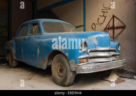 Classic car parked in the streets of Havana, Havana, Cuba - Stock Photo