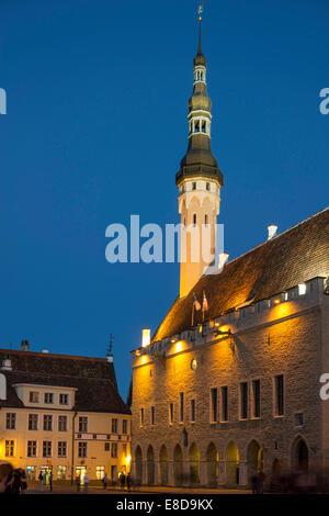Town Hall in the evening, Vanalinn, Tallinn, Harju, Estonia - Stock Photo