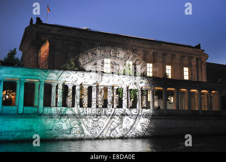 Berlin, Germany. 04th Oct, 2014. The Alte National Gallerie Berlin lights up in different colors at the Festival - Stock Photo