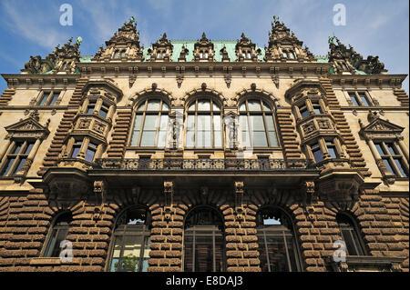 Side facade, City Hall, Hamburg, Germany - Stock Photo