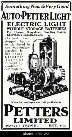 1920s advertisement for AUTO PETTER LIGHT generator for electric lights by PETTERS LIMITED of Yeovil in English - Stock Photo