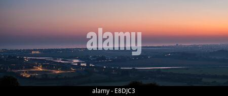 Shoreham flyover at sunset West Sussex England UK - Stock Photo