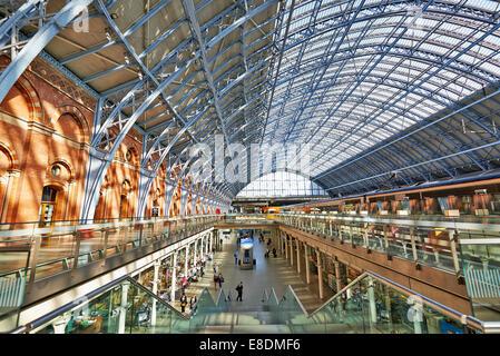 LONDON,ENGLAND JUNE 08: St Pancras Station on June 08, 2014 in London, England.St Pancras Station is the main rail - Stock Photo