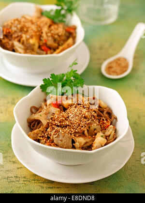 Soba noodles with mushrooms. Recipe available. - Stock Photo