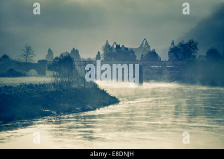 Tintern Abbey and the river Wye. - Stock Photo