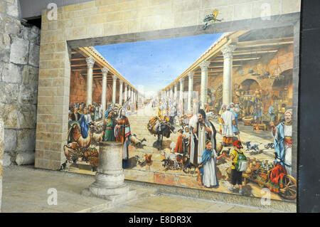 Israel, Jerusalem old city, Interior of the reconstructed Cardo in the Jewish quarters. Mural painting depicting - Stock Photo