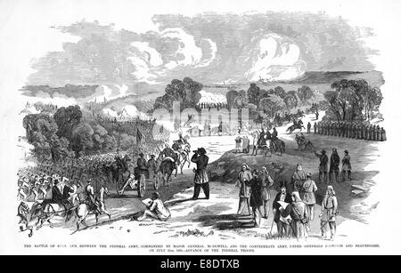 Engraving of the Battle of Bull Run from 'Famous Leaders and Battle Scenes of the Civil War,' Published in 1864. - Stock Photo