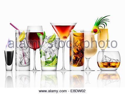 Variety of cocktails in a row - Stock Photo