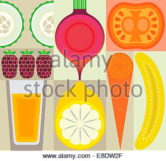 Montage of healthy fruit, juice and vegetables - Stock Photo