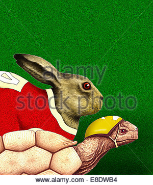 Tortoise and hare racing - Stock Photo