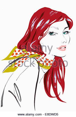 Close up beautiful woman wearing polka dot scarf - Stock Photo