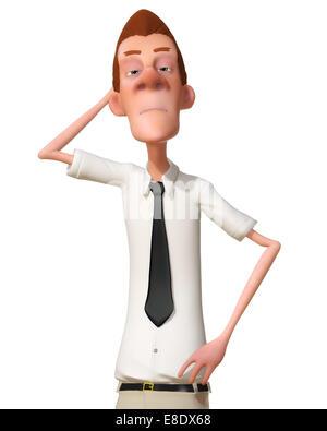 Digital Illustration of a Cartoon Man - Stock Photo