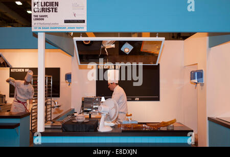 Earls Court, London UK. 6th October 2014. The Restaurant Show opening day. Competition Kitchen holds the 1st UK - Stock Photo
