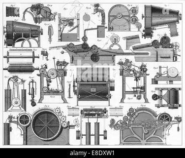 Engraved illustrations of Cotton Processing Equipment from Iconographic Encyclopedia of Science, Literature and - Stock Photo