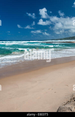 Beautiful deserted beach on the east coast of Barbados in the West Indies. - Stock Photo