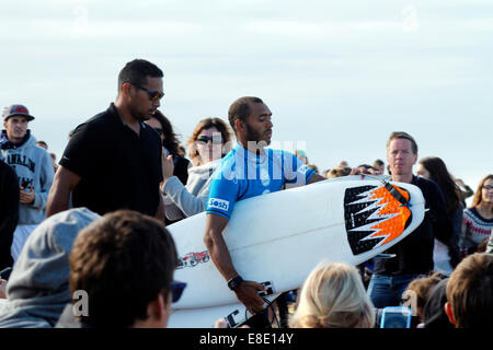 Seignosse, France. 5th Oct, 2014. John John Florence ( Hawaii), Quiksilver Pro France 2014, winner today. Here is - Stock Photo