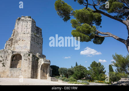 The Tour Magne, Roman relic in  Gardens of the Fountain in ancient city of Nimes;  in the department of Gard ; France - Stock Photo