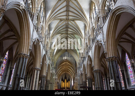 Thirteenth century nave of Lincoln Cathedral early English Gothic style in Lincoln, Lincs, East Midlands United - Stock Photo